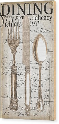 Antique Utensils For Kitchen And Dining In White Wood Print by Grace Pullen