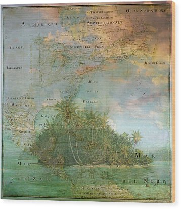 Wood Print featuring the photograph Antique Vintage Map Of North America Tropical Ocean by Debra and Dave Vanderlaan