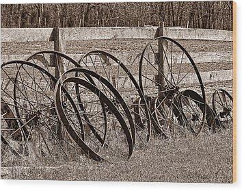 Antique Wagon Wheels I Wood Print by Tom Mc Nemar