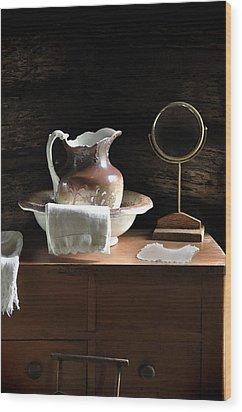 Antique Water Pitcher On Bureau Wood Print by Rebecca Brittain