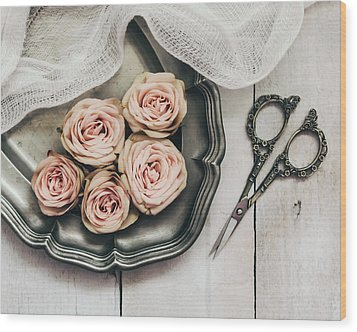 Wood Print featuring the photograph Antiqued Roses by Kim Hojnacki