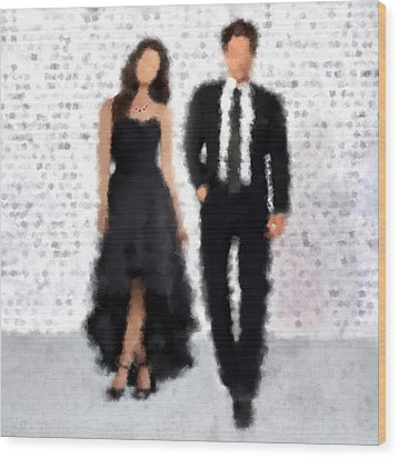 Wood Print featuring the digital art Antonia And Giovanni by Nancy Levan