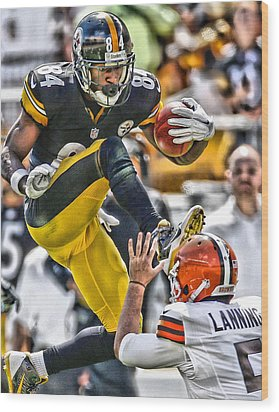 Antonio Brown Steelers Art 5 Wood Print