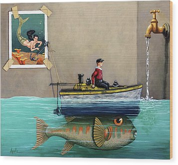Wood Print featuring the painting Anyfin Is Possible - Fisherman Toy Boat And Mermaid Still Life Painting by Linda Apple