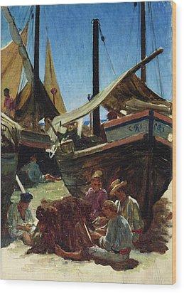 Anzio The Port Wood Print by Antoine Auguste Ernest Hebert