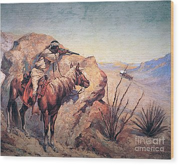 Apache Ambush Wood Print by Frederic Remington