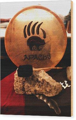 Apache Drum Wood Print by Ayasha Loya