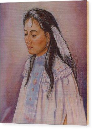 Apache Maiden Wood Print by Ann Peck