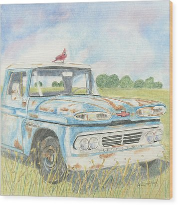 Wood Print featuring the drawing Apache Out To Pasture by Arlene Crafton