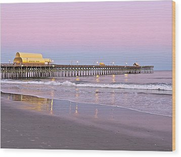 Apache Pier Sunset Wood Print by Eve Spring