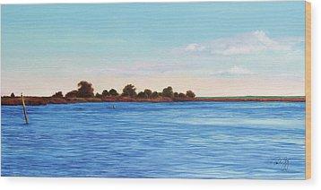 Apalachicola Bay Autumn Morning Wood Print by Paul Gaj