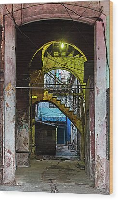 Wood Print featuring the photograph Apartment Enrance Havana Cuba Near Calle C by Charles Harden