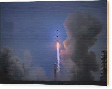 Apollo 11 Blasts Off On Mans First Wood Print by O. Louis Mazzatenta
