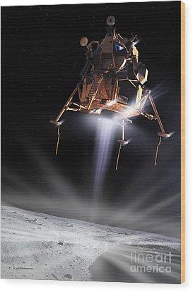 Apollo 11 Moon Landing Wood Print by Detlev Van Ravenswaay and Photo Researchers