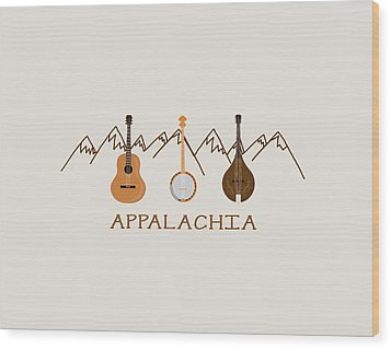 Wood Print featuring the digital art Appalachia Mountain Music by Heather Applegate