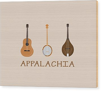 Wood Print featuring the digital art Appalachia Music by Heather Applegate