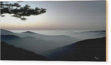 Appalachian Smoky Mountain Fog Panoramic Misty Dawn  Sunrise Sunset Scene Picture Decor Wood Print by John Samsen