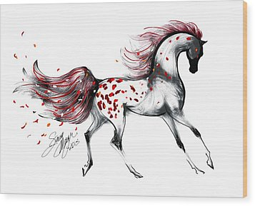 Appaloosa Rose Petals Horse Wood Print by Stacey Mayer