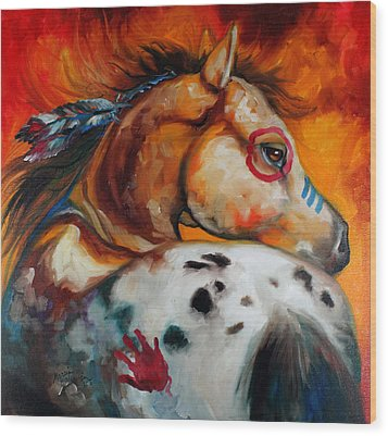 Appaloosa Indian War Pony Wood Print by Marcia Baldwin