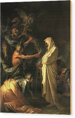 Apparition Of The Spirit Of Samuel To Saul Wood Print by Salvator Rosa