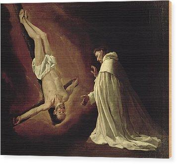 Appearance Of Saint Peter To Saint Peter Nolasco Wood Print by Francisco de Zurbaran
