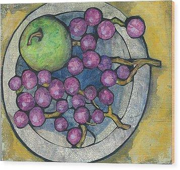 Apple And Grapes Wood Print by Barbara Nye