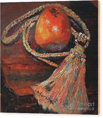 Wood Print featuring the painting Apple And Tassel Still Life Oil Painting by Ginette Callaway
