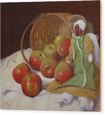 Wood Print featuring the painting Apple Annie by Donelli  DiMaria