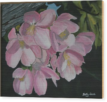 Wood Print featuring the painting Apple Blossoms by Betty-Anne McDonald