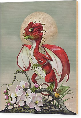 Wood Print featuring the digital art Apple Dragon by Stanley Morrison
