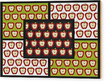 Wood Print featuring the digital art Apple For The Teacher- Cute Art by KayeCee Spain