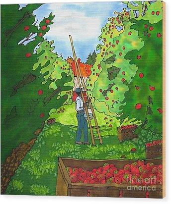 Apple Harvest Wood Print by Linda Marcille