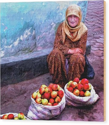 Apple Seller Wood Print by Dominic Piperata