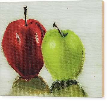 Wood Print featuring the pastel Apple Study by Linde Townsend