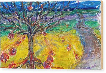 Apple Tree Wood Print by Laurie Parker