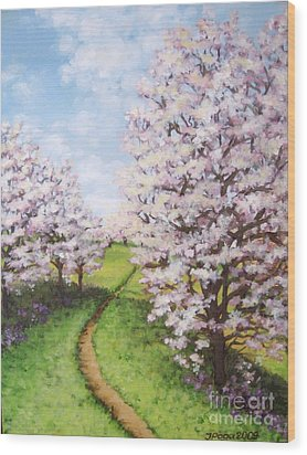 Apple Trees Along The Path Wood Print by Inese Poga