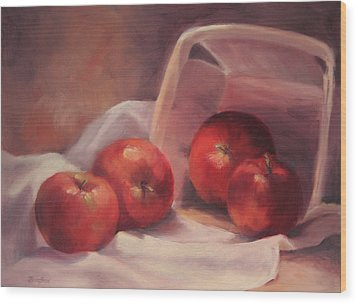 Apples And  Basket Wood Print