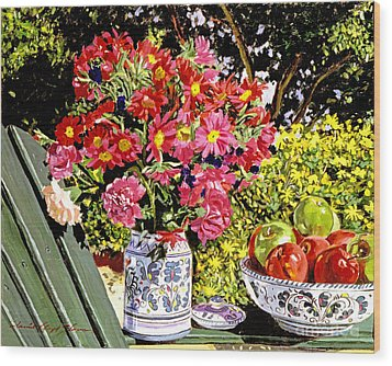 Apples And Flowers Wood Print by David Lloyd Glover