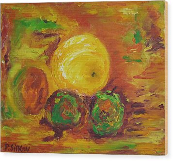 Apples And Grapefruit Wood Print by Peter Silkov