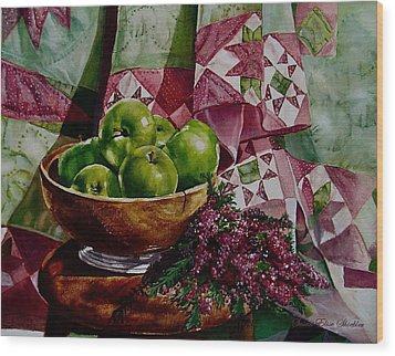 Apples And Heather Wood Print