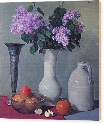 Apples And Lilacs,silver Vase,vintage Stoneware Jug Wood Print