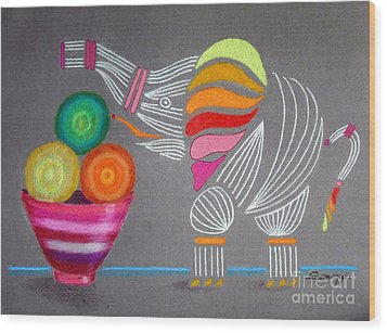 Apples And Oranges And Elephants, Oh My -- Whimsical Still Life W/ Elephant Wood Print