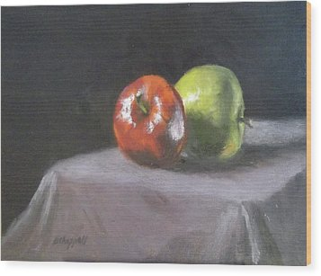 Apples Wood Print by Becky Chappell