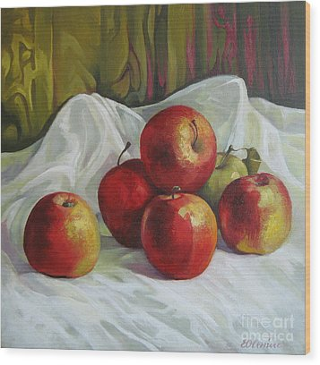 Wood Print featuring the painting Apples by Elena Oleniuc
