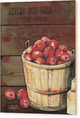 Apples For Sale Wood Print by Arline Wagner