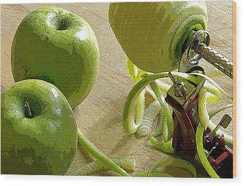 Apples Getting Peeled Wood Print by Debra Baldwin