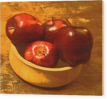 Wood Print featuring the digital art Apples In A Bowl by Walter Chamberlain