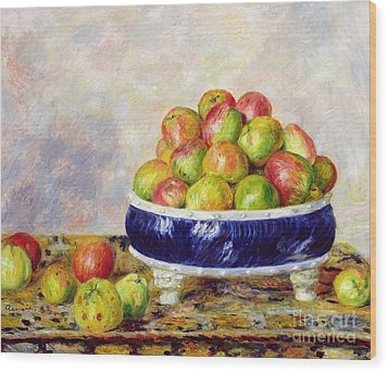 Apples In A Dish Wood Print by  Pierre Auguste Renoir