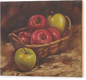 Apples Wood Print by Linda Eades Blackburn