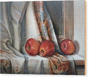 Wood Print featuring the painting Apples On The Windowsill by William Albanese Sr